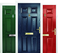 Composite fire doors in green, red and blue