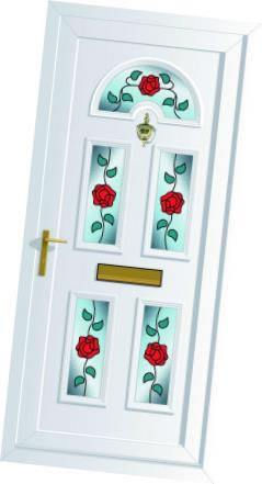 Triple glazed PVCu panel with rose design