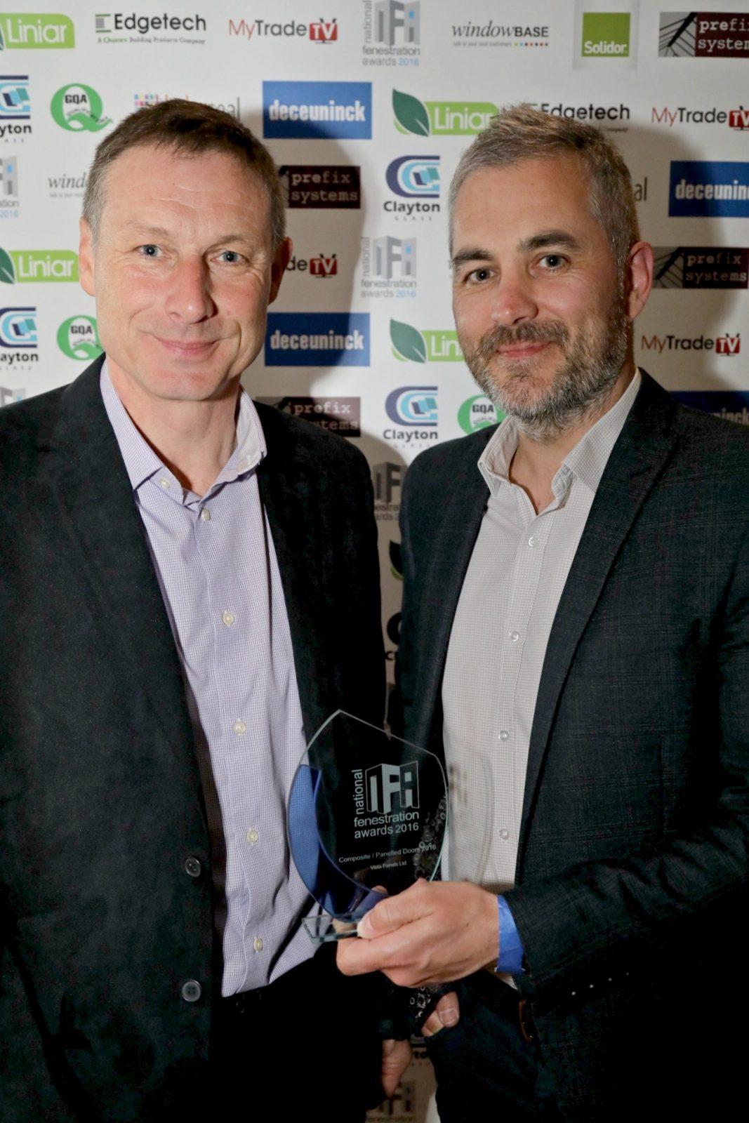 Ian Smith, Business Development Manager picks up last year's National Fenestration Award