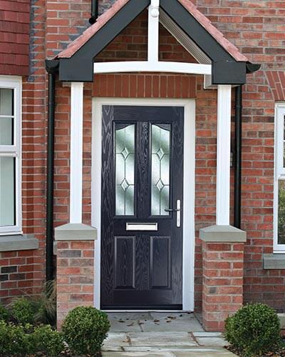 Blue twin brow composite door