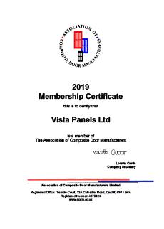 association of composite door manufacturers certificate