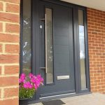 Anthracite Grey contemporary composite door with sidelights