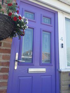 Purple composite front door