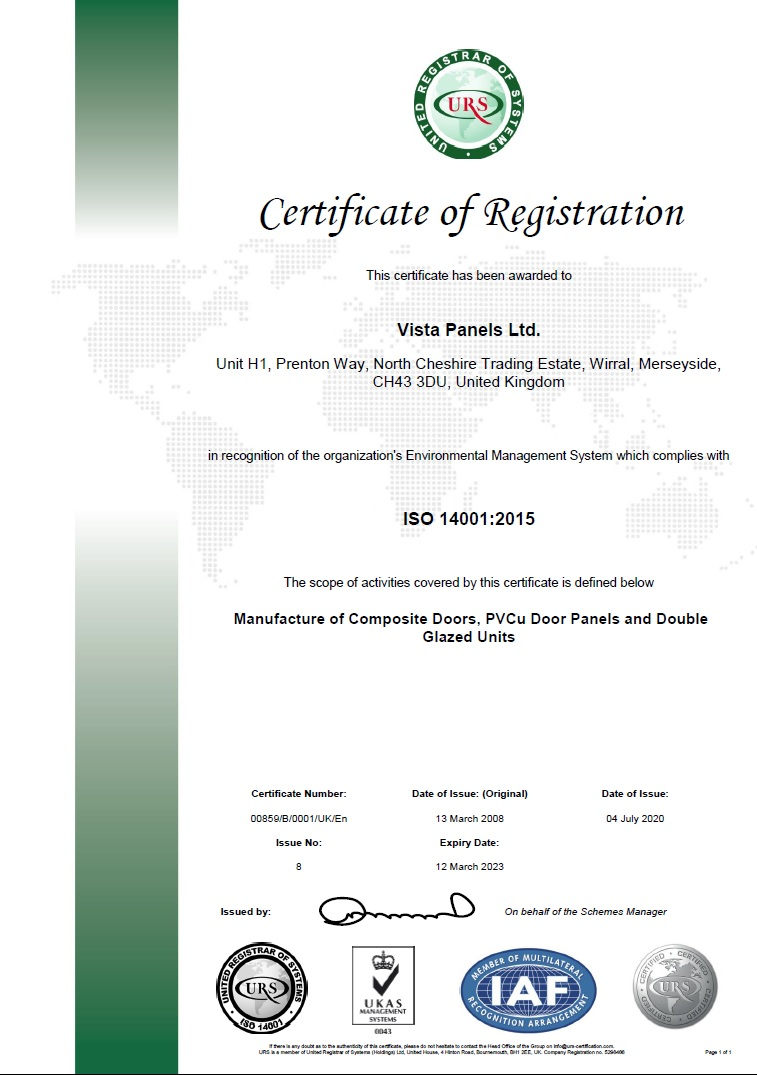 ISO 14001: 2015 certificate