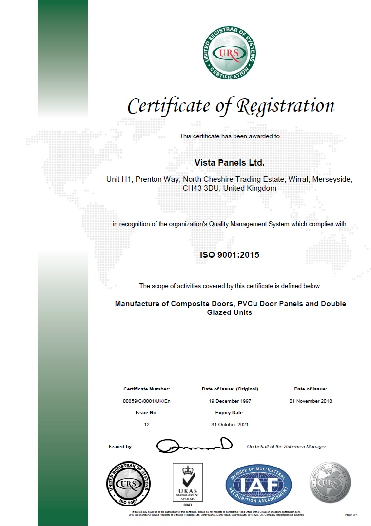 ISO 9001:2015 test certificate
