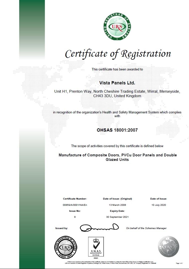 OHSAS 18001:2007 registration certificate