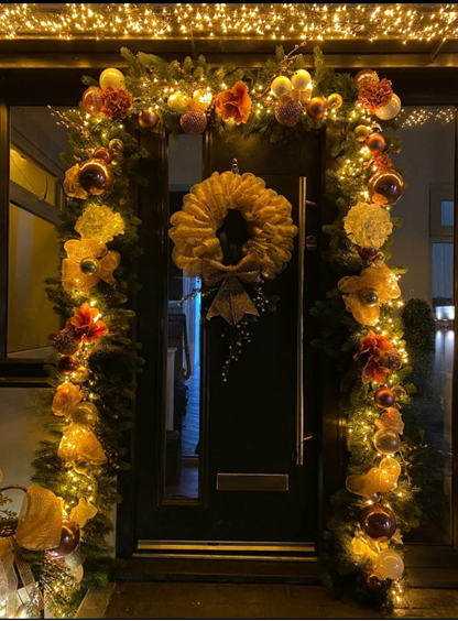 Modern front door with xmas decorations