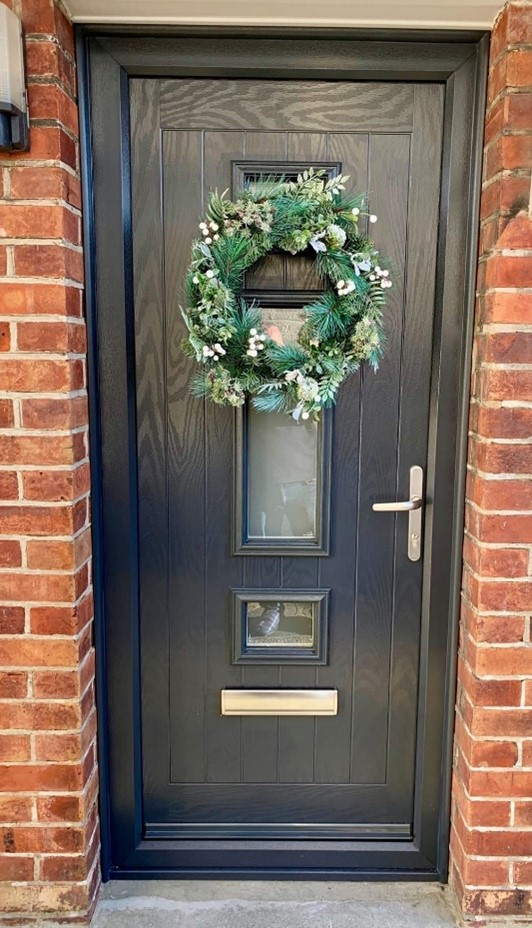 Anthracite Grey front door with xmas wreath
